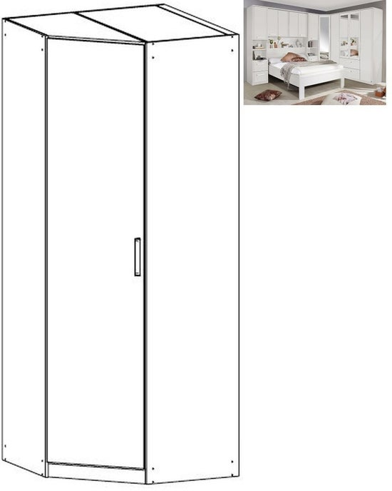 Rauch Rivera 1 Door Corner Wardrobe with Cornice in Alpine White