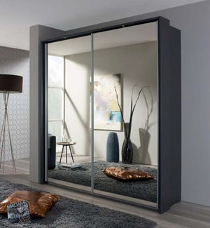 Rauch Sona 2 Door All Mirror Sliding Wardrobe in Metallic Grey - W 189cm