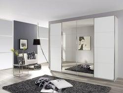 Rauch Syncrono 4 Door Mirror Sliding Wardrobe in White - W 316cm