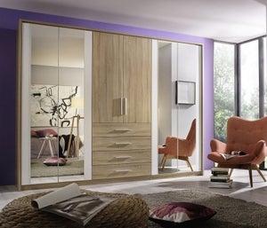 Rauch Wesel 6 Door Combi Wardrobe in Oak and White - W 275cm