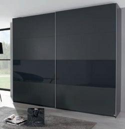 Rauch Xtend 2 Door Sliding Wardrobe in Graphite and Basalt Glass - W 226cm