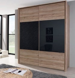 Rauch Xtend 2 Door Sliding Wardrobe in Oak and Basalt Glass - W 181cm