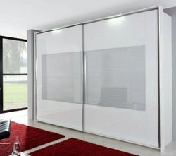 Rauch Xtend 2 Door Sliding Wardrobe with Light in White and Silk Grey Glass - W 316cm