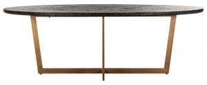 Blackbone  Black Oak and Brass Oval Dining Table - 230cm
