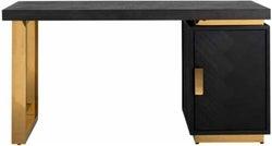 Blackbone Black Oak and Gold 1 Door Desk