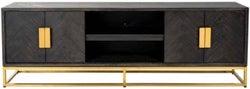 Blackbone Black Oak and Gold 4 Door TV Unit - 185cm