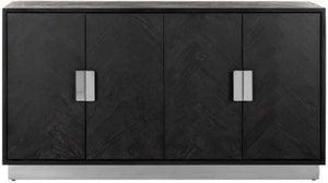 Blackbone Black Oak and Silver 4 Door Sideboard