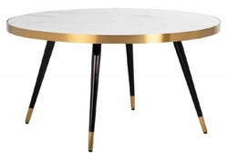 Delia White Marble and Gold Round Coffee Table