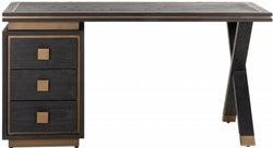 Hunter Black Oak and Gold 3 Drawer Desk