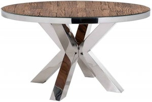 Kensington Sleeper Wood and Silver Round Dining Table - 140cm