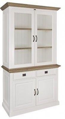 Oakdale Oak and Painted 4 Door 2 Drawer Small Display Cabinet