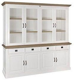 Oakdale Oak and Painted 4 Door 4 Drawer Display Cabinet