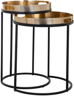 Lewis Gold Round Side Table (Set of 2)