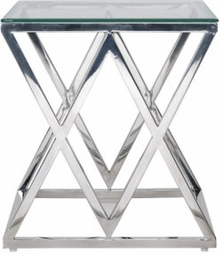 Paramount Glass and Stainless Steel Square Side Table
