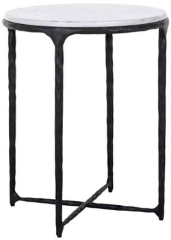 Steel Smith Marble and Black Side Table