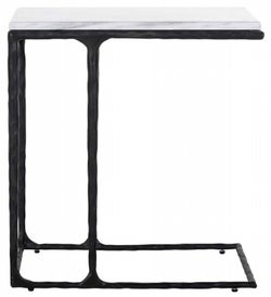 Steel Smith Marble and Black Sofa Side Table