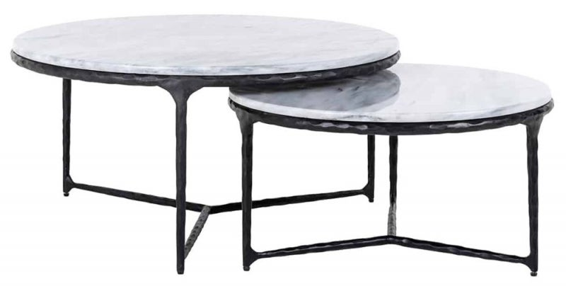 Steel Smith Marble and Black Coffee Table (Set of 2)
