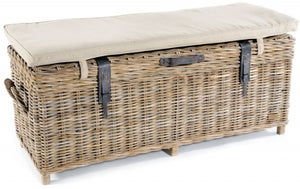 Rowico Maya Rattan Grey Wash Storage Bench with Cushion
