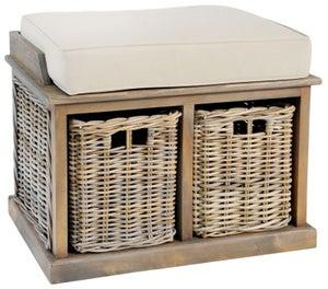 Rowico Maya Rattan Grey Wash Twin Basket Bench