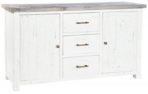Rowico Purbeck Distressed White 2 Door 3 Drawer Sideboard