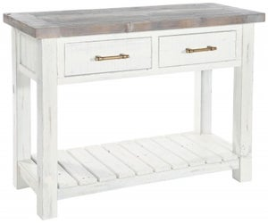 Rowico Purbeck Distressed White 2 Drawer Console Table