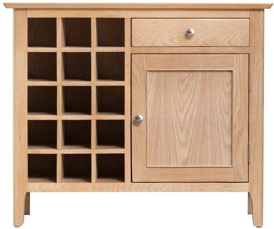 Appleby Oak 1 Door 1 Drawer Wine Cabinet
