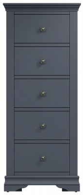 Chantilly Midnight Grey Painted 5 Drawer Tall Chest