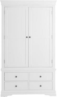 Chantilly White Painted 2 Door 4 Drawer Wardrobe