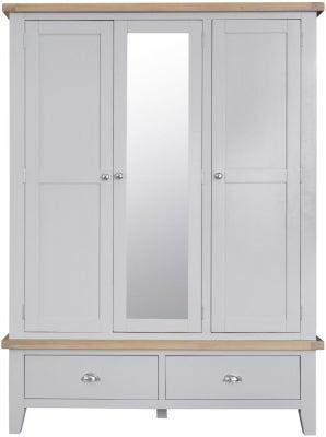 Hampstead Oak and Grey Painted 3 Door 2 Drawer Wardrobe