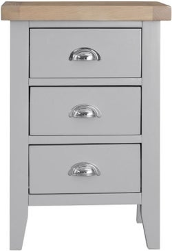 Hampstead Oak and Grey Painted 3 Drawer Bedside Cabinet