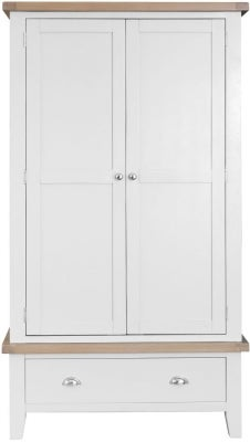 Hampstead Oak and White Painted 2 Door 1 Drawer Wardrobe