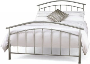 Serene Neptune Pearl Silver 5ft King Size Metal Bed