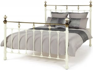 Serene Abigail 4ft 6in Metal Bed - Ivory and Dark Brass