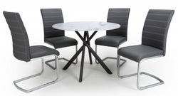 Shankar Avesta White Glass Round Dining Table and 4 Callisto Black Leather Chairs
