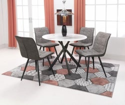 Shankar Avesta White Glass Round Dining Table and 4 Rodeo Light Grey Chairs