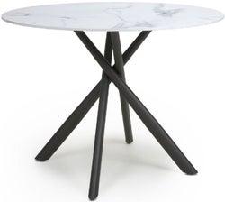 Shankar Avesta White Marble Effect Round Dining Table