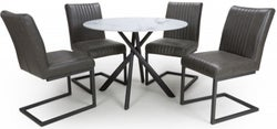 Shankar Avesta White Glass Round Dining Table and 4 Archer Grey Chairs