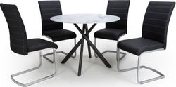Shankar Avesta White Glass Round Dining Table and 4 Callisto Black Chairs