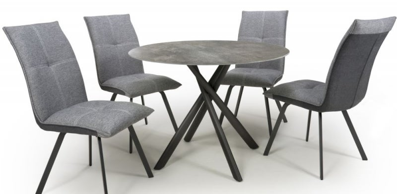 Shankar Avesta Grey Glass Round Dining Table and 4 Ariel Light Grey Chairs