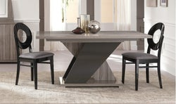 Bagni Dark Grey Oak Italian Extending Dining Table and 4 Oval Wooden Dining Chair