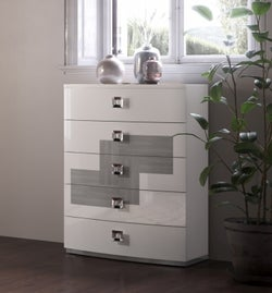 Betty High Gloss White and Grey 5 Drawer Italian Tallboy Chest