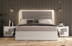 Betty High Gloss White and Grey Italian Upholstered Bed