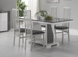 Delia White and Grey Italian Dining Table and 4 Chair