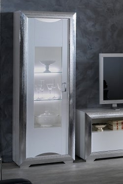 Leni White and Silver 1 Left Door Italian Cabinet with LED Light
