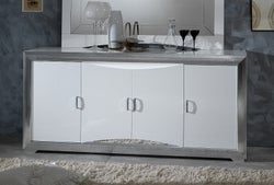 Leni White and Silver 4 Door Italian Sideboard with LED Light