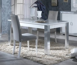 Leni White and Silver Italian Extending Dining Table and 4 Chair