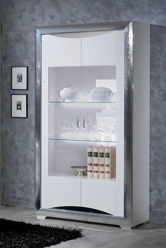 Leni White and Silver 2 Door Italian Cabinet with LED Light