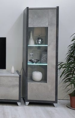 Milo Grey Marble Effect 1 Right Door Glass Italian Cabinet with LED Light
