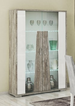 Naro Dove Grey and White 2 Door Glass Italian Cabinet with LED Light
