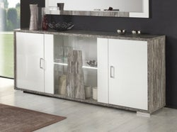 Naro Dove Grey and White 4 Door Italian Sideboard with LED Light